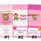 Monkey Personalized baby shower mini hershey candy wrapper favors (MM#2 Miss Monkey) DIGITAL