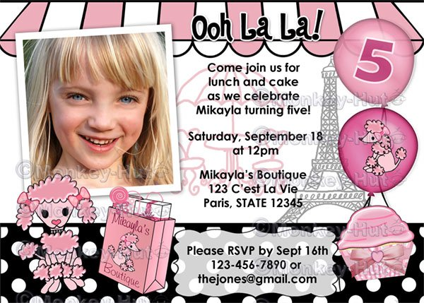 Pink Poodle in Paris Birthday Party Invitation (Digital file)