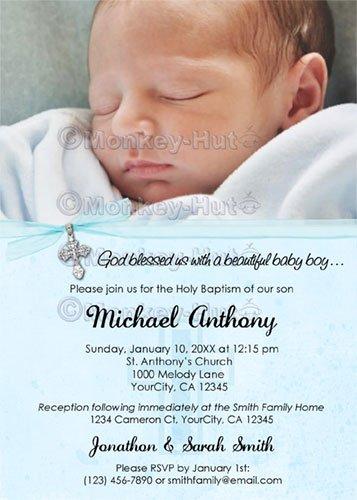 Baptism or Christening Personalized Custom Photo Invitation Baby BOY (DIGITAL)