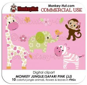 Monkey Jungle Safari Animals Pink Clip Art (JJ) COMMERCIAL USE