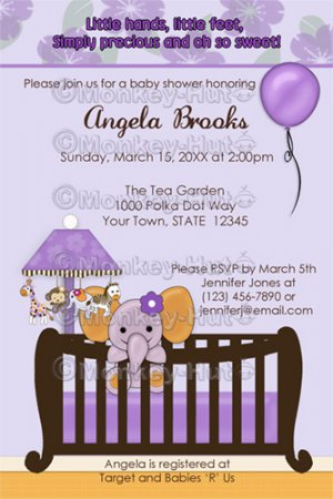 Jacana Elephant Baby Shower Invitations Cje Pur Purple Monkey