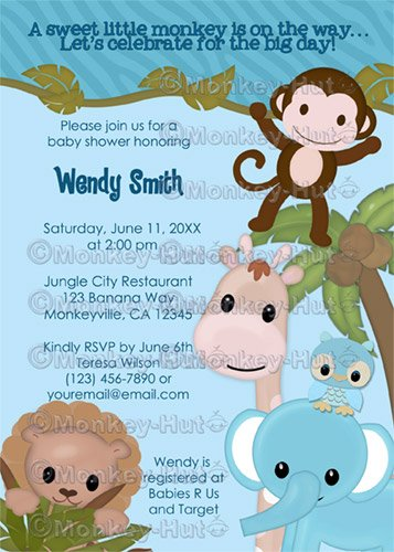 Sweet Jungle Babies Monkey Baby Shower Invitation SJB Boy (DIGITAL)