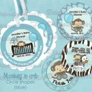 Monkey Crib Baby Shower Tags - BLUE (favor, cupcake topper) circle shapes