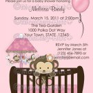 Monkey Baby Shower invitation pink crib CJ-P (DIGITAL)
