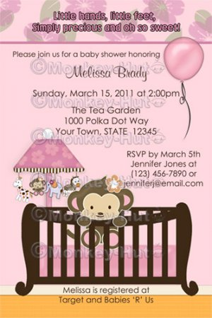 Monkey Baby Shower invitation pink crib CJ-P (DIGITAL)
