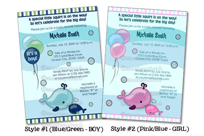 Little Baby Whale & Mommy Kiss Baby Shower invitation (DIGITAL)