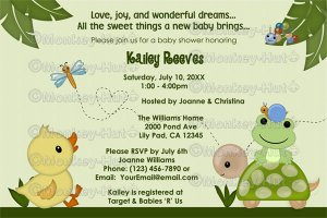 In the pond baby shower invitation duck frog digital filmwisefo