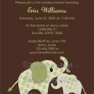 Green ELEPHANT Baby Shower Invitation Baby Kiss CE-G (DIGITAL)