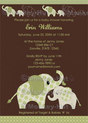 Green ELEPHANT Baby Shower Invitation Baby Kiss CE-G (DIGITAL)