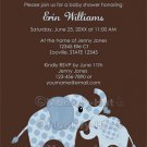 Blue ELEPHANT Baby Shower Invitation Baby Kiss CE-B (DIGITAL)