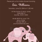 Pink ELEPHANT Baby Shower Invitation Baby Kiss CE-P (DIGITAL)