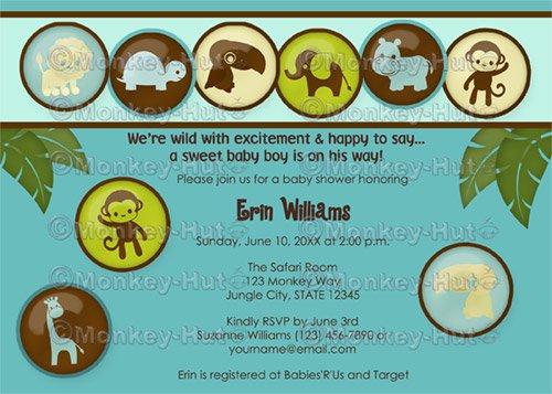 Safari Animals Baby Shower Invitation DDS (DIGITAL)