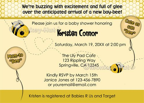 """BEE Baby Shower Invitation - Cute as can """"bee"""" (DIGITAL)"""