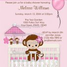 Sweet MONKEY Baby Shower Invitation SM-K pink (DIGITAL)