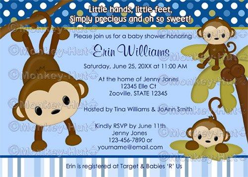 MONKEY Baby Shower Invitation 3 Little Monkeys 3LMB (DIGITAL)