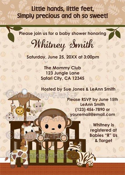 MONKEY Baby Shower Invitation Nali Jungle NJM (DIGITAL)