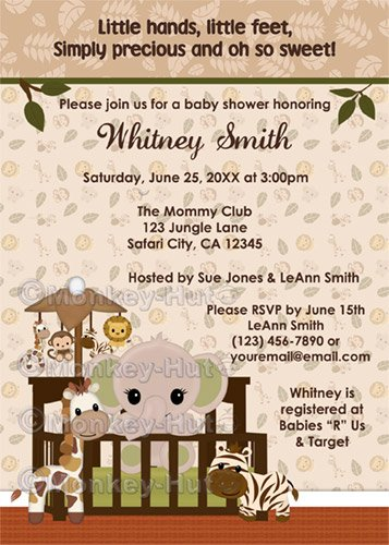 ELEPHANT Baby Shower Invitation Nali Jungle NJE (DIGITAL)