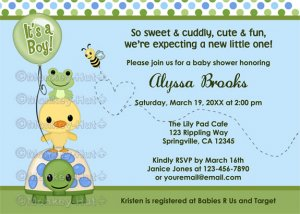 Pond Pals Duck Baby Shower Invitation Frog Turtle PFL (DIGITAL)
