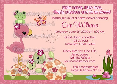Once Upon a Pond TURTLE Baby Shower Invitation Flamingo Frog OUP (DIGITAL)