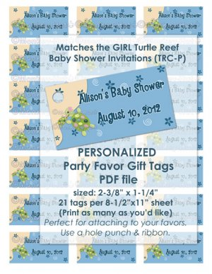 Girl TURTLE Reef Baby Shower Favor Tags TRC-P PDF file