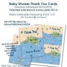 Turtle Reef Girl TURTLE Baby Shower Thank You card PDF file printable DIY TRC-P