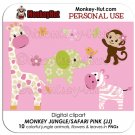 Monkey Jungle Safari Animals Pink Clip Art (JJ) PERSONAL USE