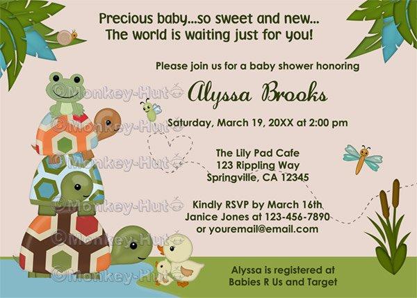Laguna TURTLE Baby Shower Invitation Frog LTC (DIGITAL)