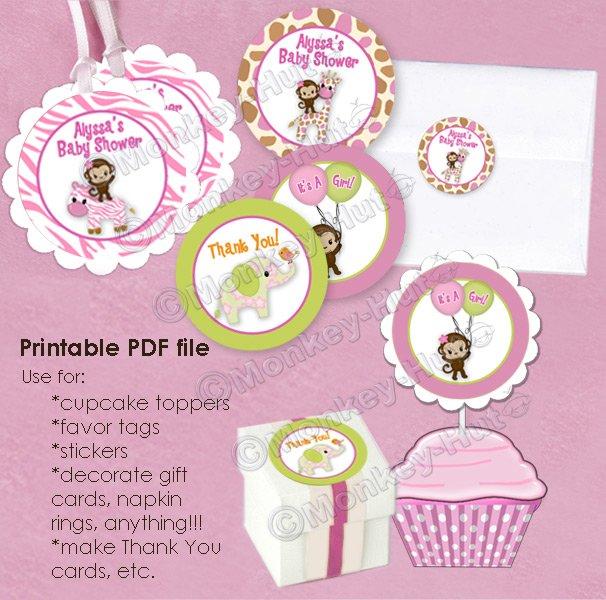 Girl Monkey Jungle Jill Baby Shower Tags - (favor, cupcake topper) circle shapes