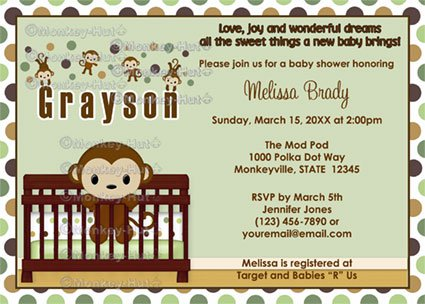 MONKEY Baby Shower invitation Mod Pod Pop Crib MPP2-02 (DIGITAL)