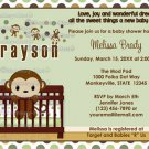 MONKEY Baby Shower invitation Mod Pod Pop Crib MPP2-02 (DIGITAL)