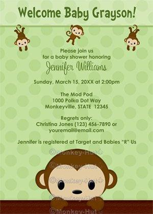 MONKEY Baby Shower invitation Polka Dot GREEN BOY GIRL MPP3 PAB01 (DIGITAL)