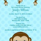 MONKEY Baby Shower invitation Polka Dot BLUE BOY MPP3 PAB03A (DIGITAL)