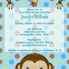 MONKEY Baby Shower invitation Polka Dot BLUE GREEN BOY MPP3 PAB03B (DIGITAL)