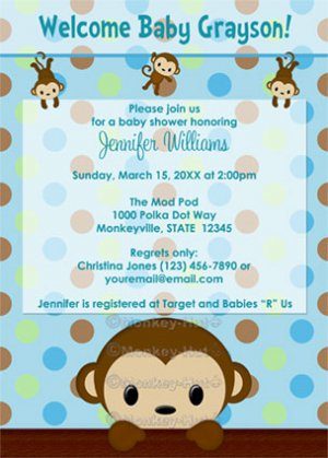 Monkey baby shower invitation polka dot blue green boy mpp3 pab03b monkey baby shower invitation polka dot blue green boy mpp3 pab03b digital filmwisefo