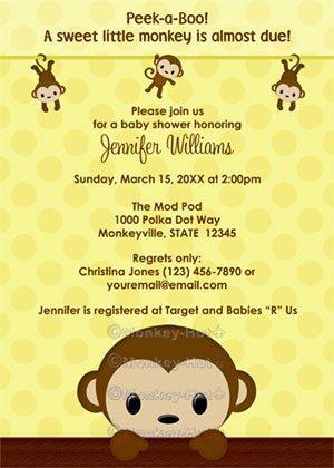 MONKEY Baby Shower invitation Polka Dot YELLOW GIRL BOY MPP3 PAB04A (DIGITAL)