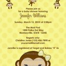 MONKEY Baby Shower invitation Polka Dot YELLOW GIRL MPP3 PAB04B (DIGITAL)