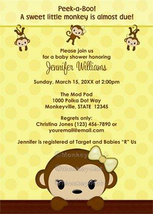 MONKEY Baby Shower invitation Polka Dot YELLOW GIRL MPP3 PAB04B (DIGITAL)