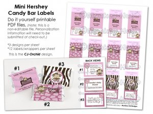 Monkey Personalized baby shower mini hershey candy wrapper favors CJ-Orchid (DIGITAL)
