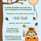 MONKEY Baby Shower Invitation Fall Pumpkin GIRL (DIGITAL)