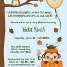 MONKEY Baby Shower Invitation Fall Pumpkin GIRL (DIGITAL)