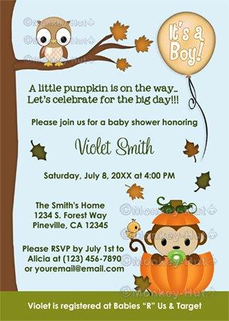 MONKEY Baby Shower Invitation Fall Pumpkin BOY (DIGITAL)