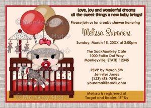 Baby Shower invitation GIRL Sock MONKEY Crib SMC-G (DIGITAL)