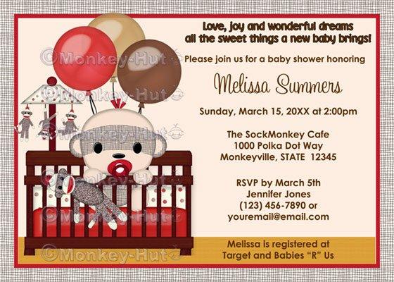 Baby Shower invitation BOY Sock MONKEY Crib SMC-B (DIGITAL)