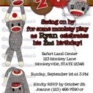 Silly SOCK MONKEY Birthday Invitation SMR girl/boy (DIGITAL)
