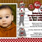 Silly SOCK MONKEY Birthday Invitation SMR PHOTO (DIGITAL)
