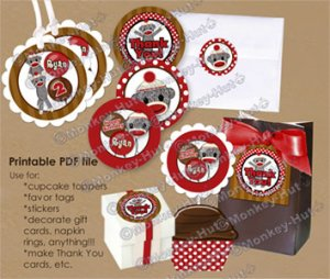 Silly SOCK MONKEY Birthday Tags SMR (favor, cupcake topper) circle shapes PDF file