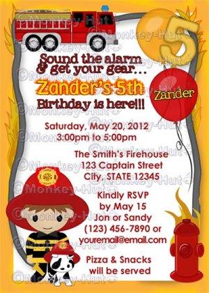 Fire Truck Firefighter Dalmation Birthday Invitation FFB (DIGITAL)