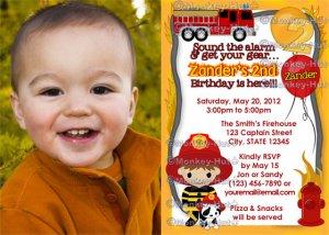 Fire Truck FIREFIGHTER Dalmation Birthday Invitation FFB PHOTO (DIGITAL)