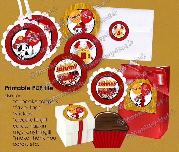FIREFIGHTER Fire Truck Dalmation Birthday Tags (favor, cupcake topper) PDF file