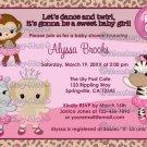 Tu Tu Cute Baby Shower invitation MONKEY GIRL TTC (DIGITAL)